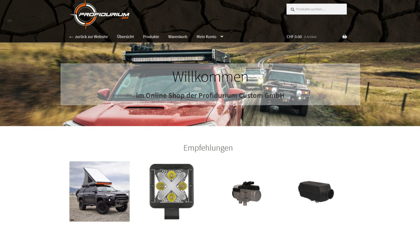 Profidurium Webshop, Offorad Ausrüstung