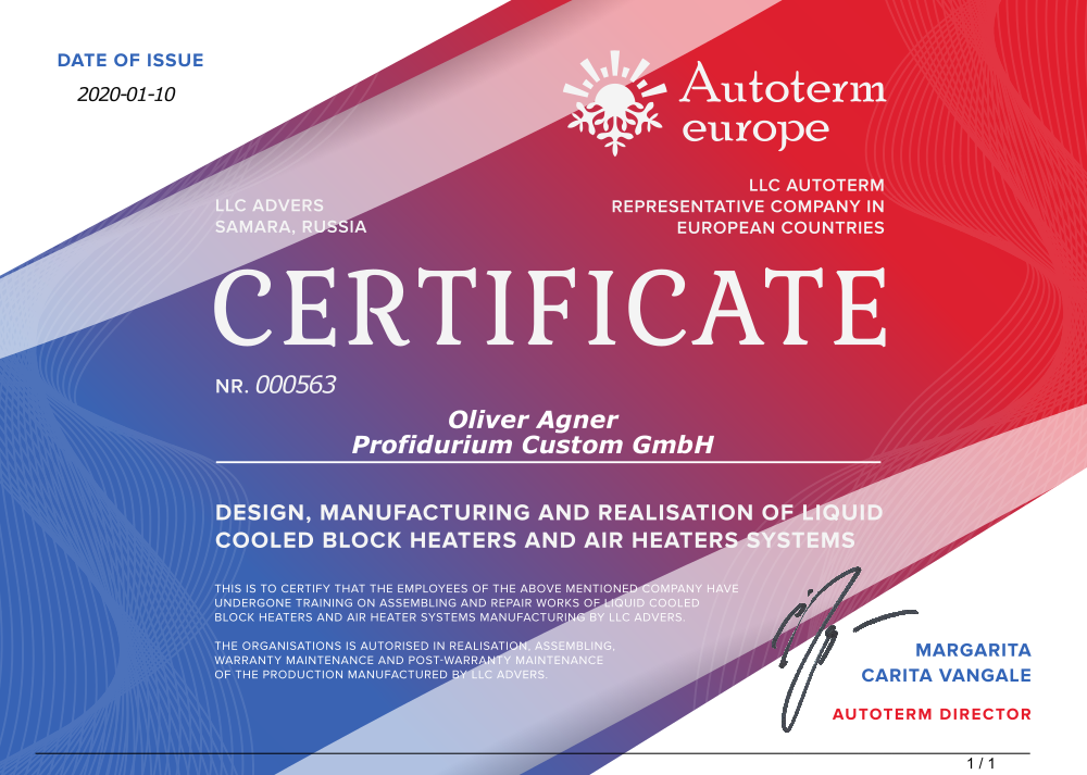 Autoterm Zertifikat, Servicepartner